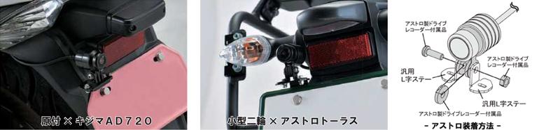 ドラレコ カメラステー ナンバー上マウントタイプ 使用例1